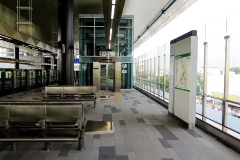 Waiting area at boarding level