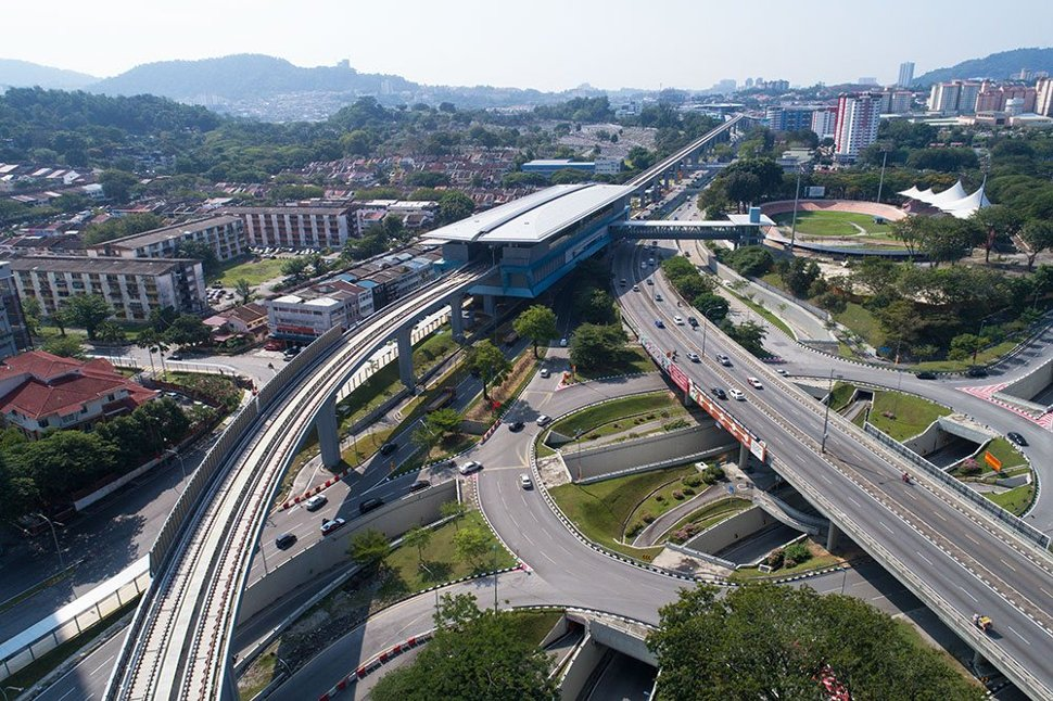Arial view of Taman Pertama MRT station and its suroundings