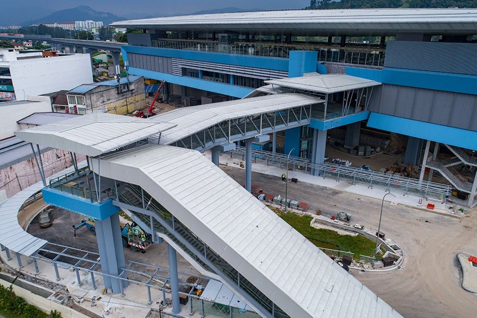 Aerial view of the entrance to the Batu 11 Cheras MRT Station. Apr 2017