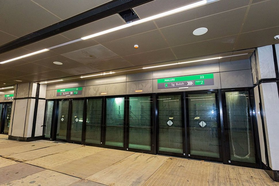 Platform screen doors that have been installed inside the Maluri Station. (Feb 2017)