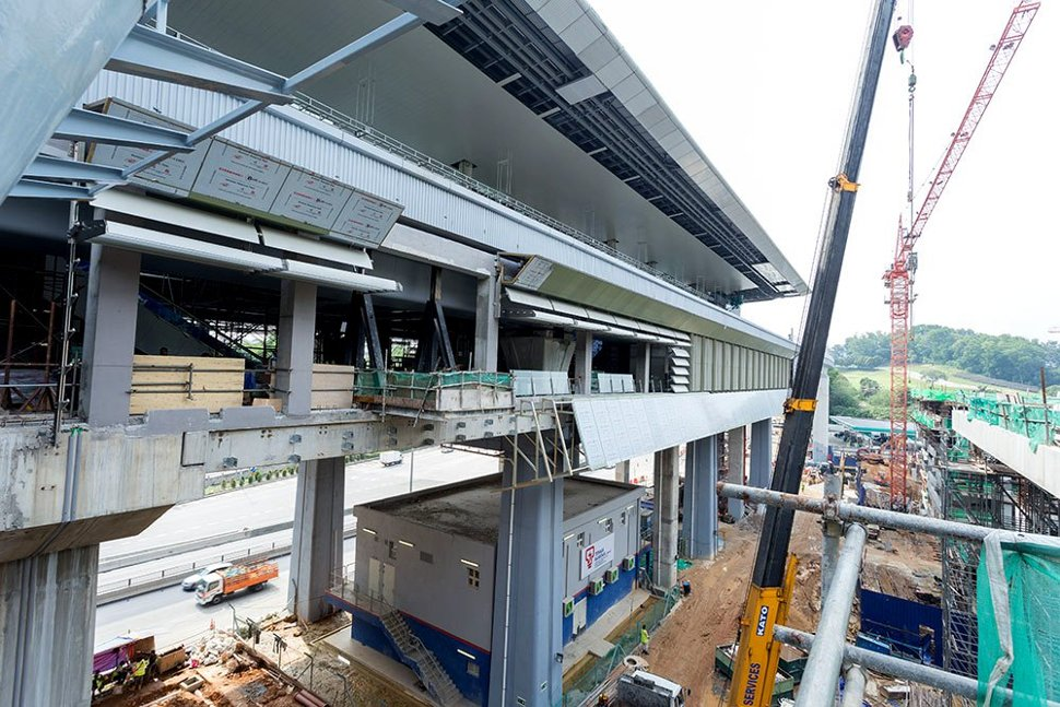 Architectural works for the Phileo Damansara Station being done. (Jan 2016)