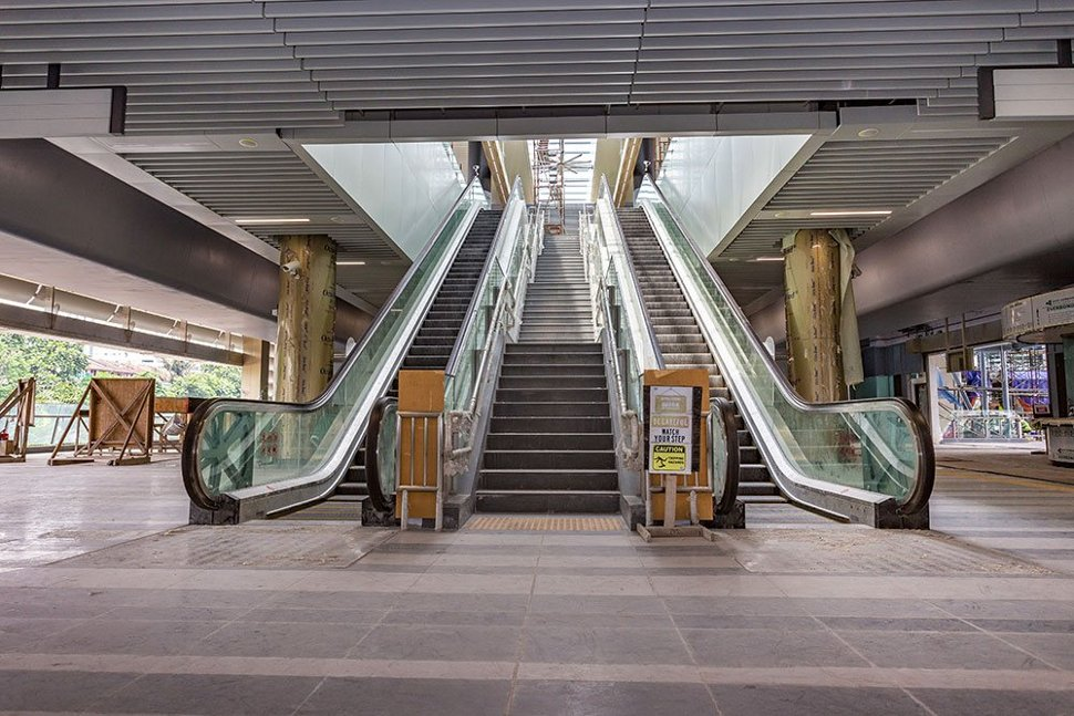 Escalators and stairs structure that have been installed inside the Taman Suntex Station. Feb 2017