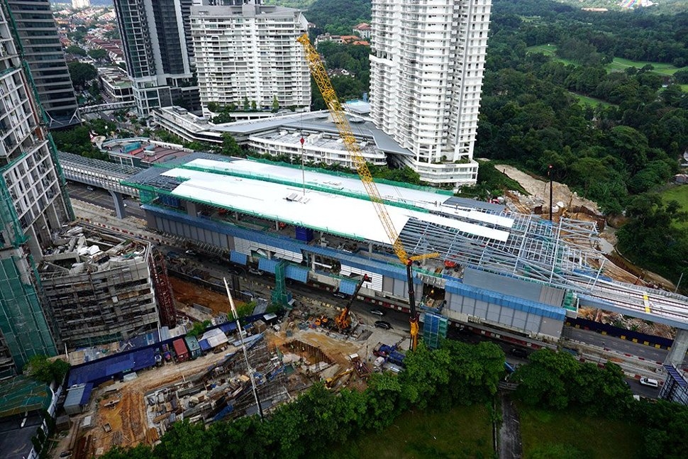 Aerial view of the Taman Tun Dr Ismail Station under construction. (Dec 2015)