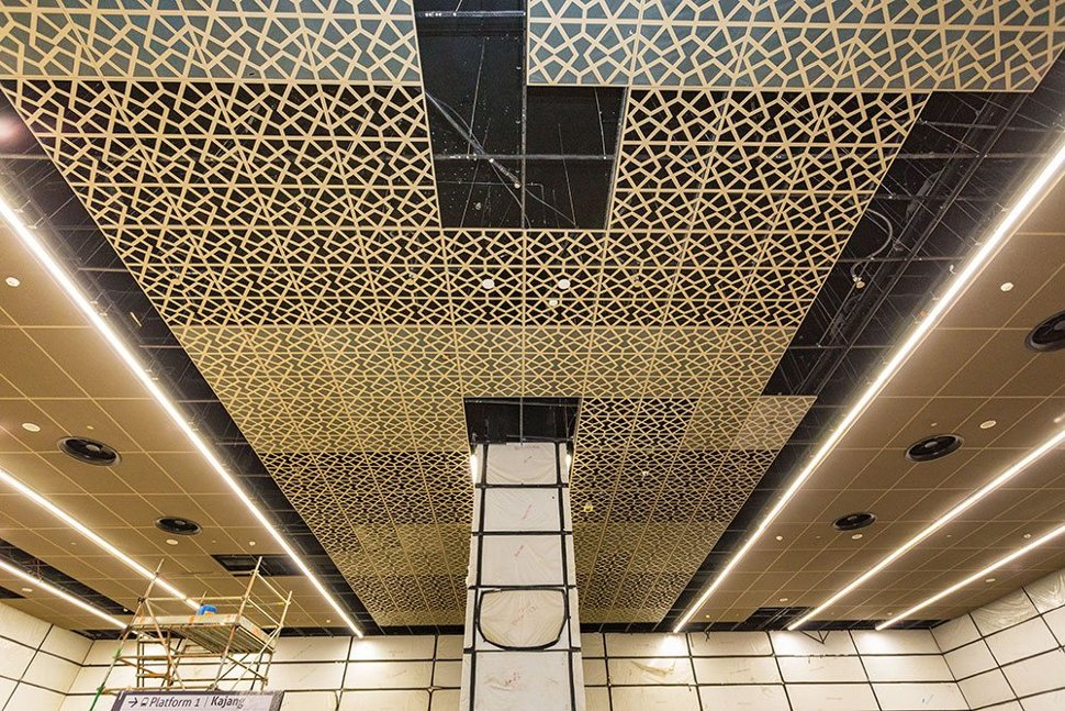 The Islamic corporate element, the theme for the interior design of the Tun Razak Exchange Station is visible on its ceilings. (Mar 2017)