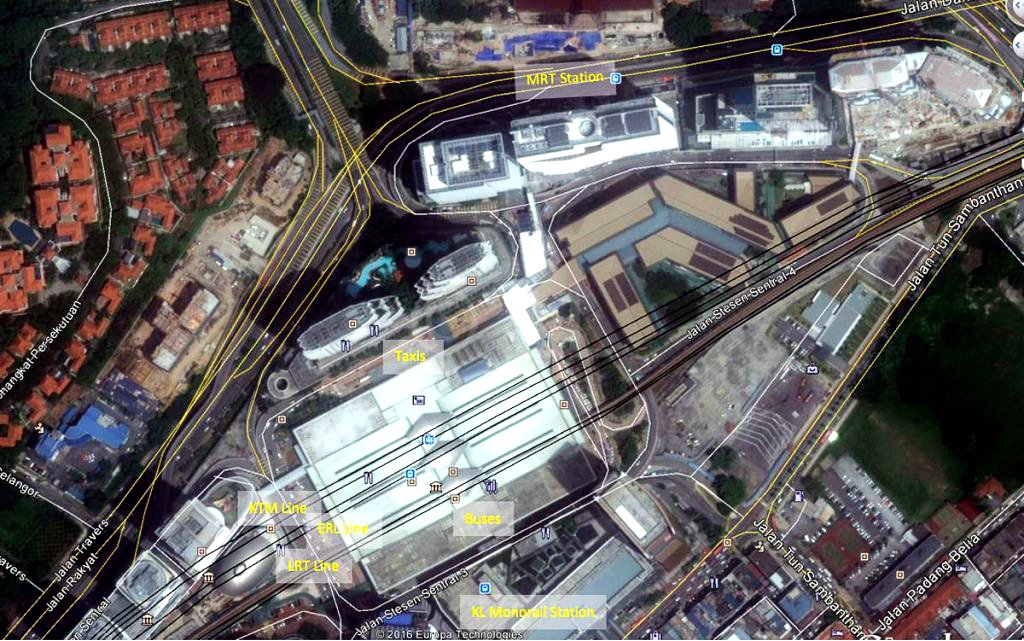 Aerial view of respective transportation zones at KL Sentral