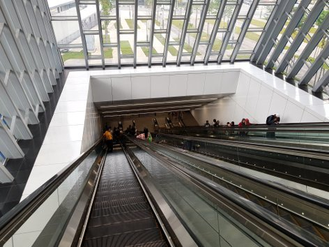 Escalator access to MRT station
