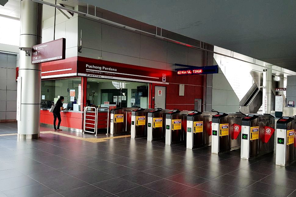 Entrance gates to Puchong Perdana LRT station