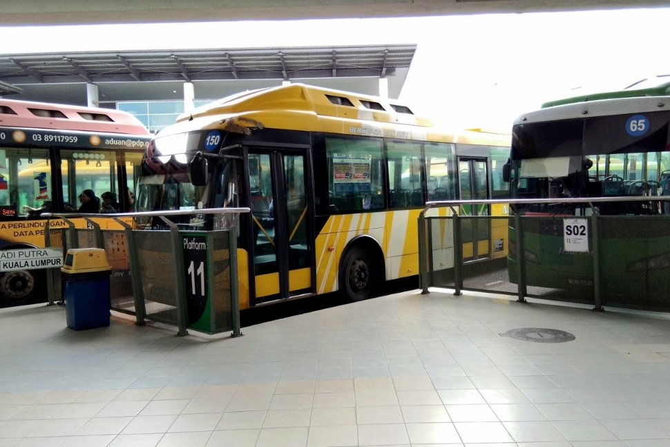 Feeder buses waiting at the bus hub
