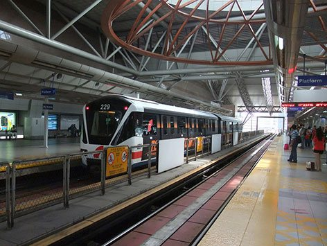 Boarding platforms at KL Sentral LRT Station