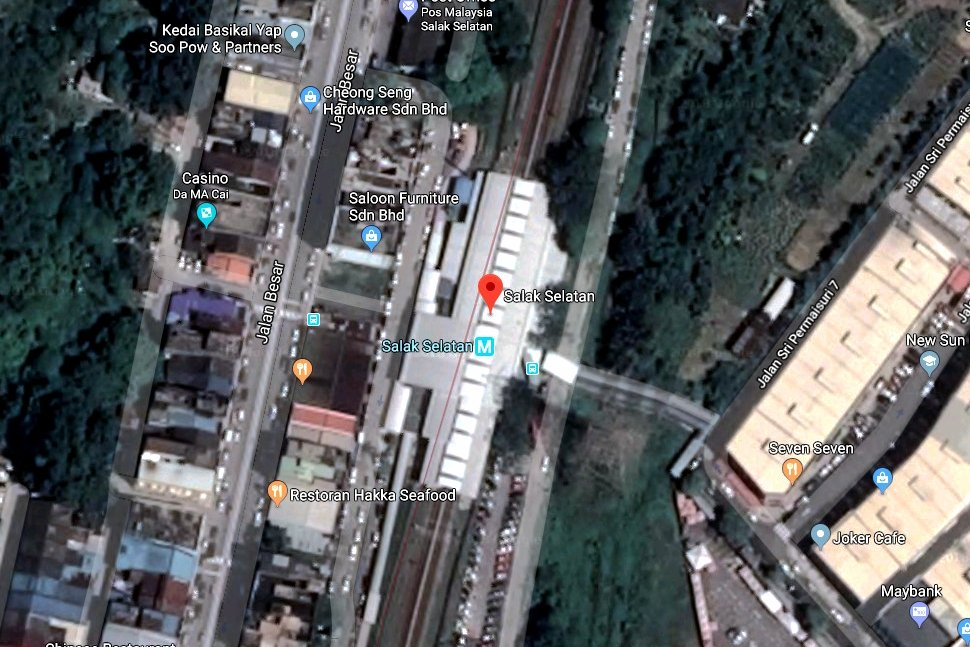 View of Salak Selatan LRT station on Google Earth