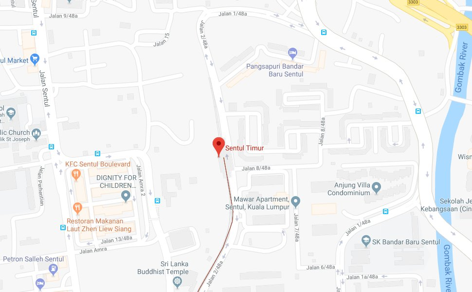 Location of Sentul Timur LRT Station