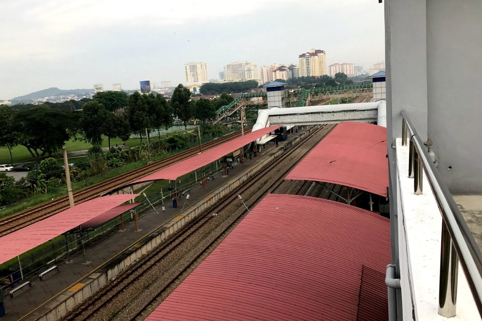 View of Serdang KTM Komuter station from car park building