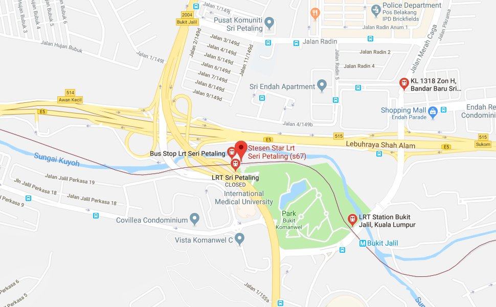 Location of Sri Petaling LRT Station