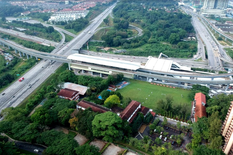 Aerial view of the Sungai Buloh KTM Komuter station