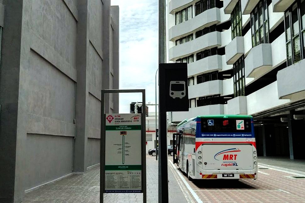 Feeder bus waiting at MRT Station