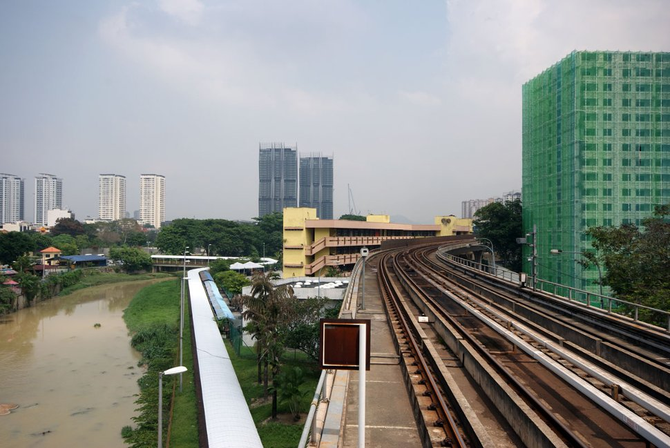 View of rail track and surrounding from the LRT station