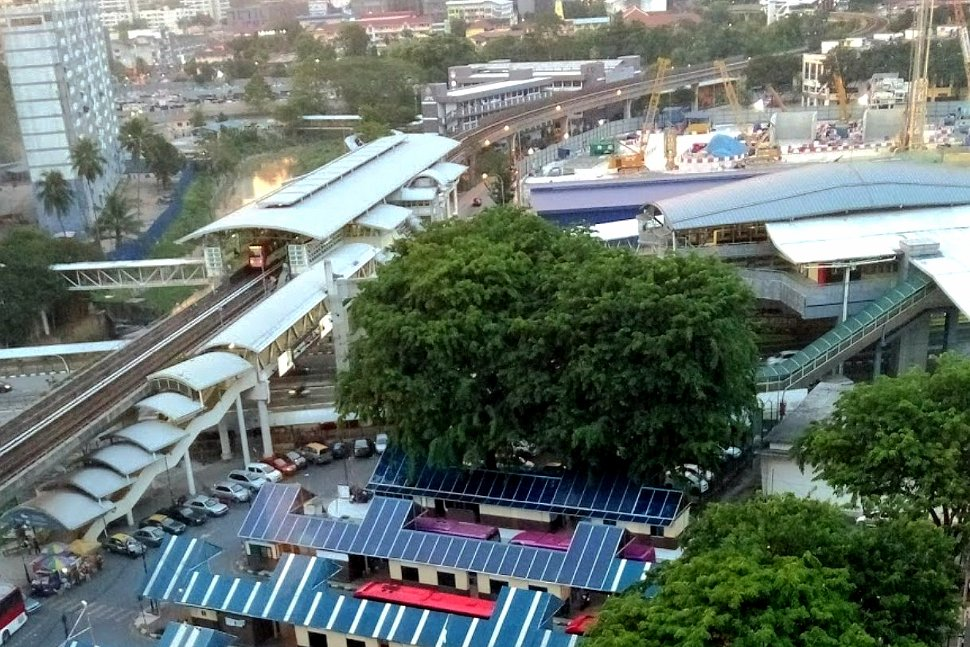 Aerial view of Titiwangsa monorail and LRT station