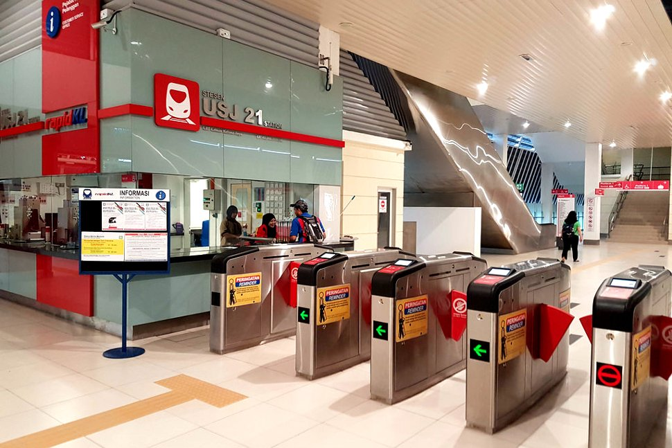 Ticket counters at USJ 21 LRT station