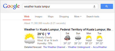 Google to check weather at given location