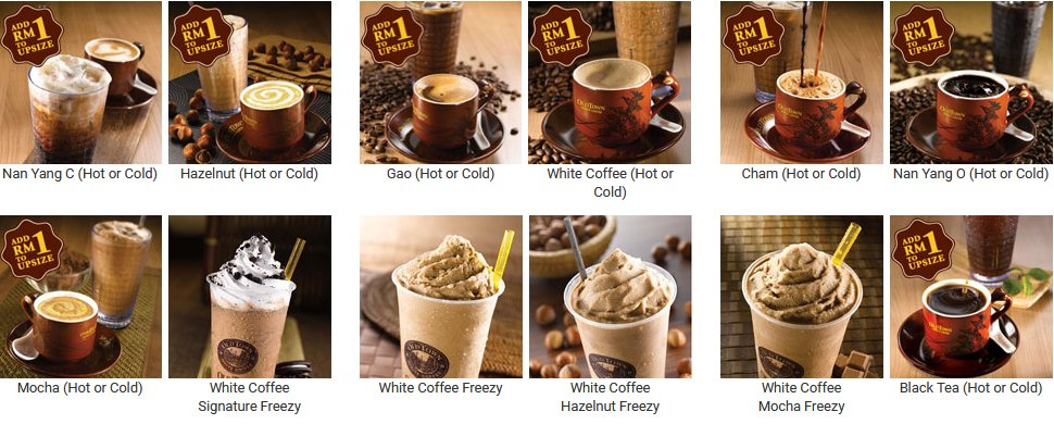 OldTown White Coffee selection