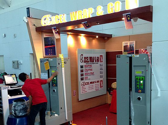 Excel Wrap & Go booth at Departure Hall near MACH Hong Leong Bank