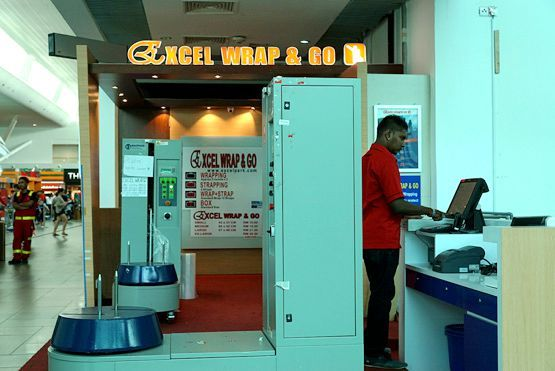 Excel Wrap & Go booth at Departure Hall near Hui Lau Shan