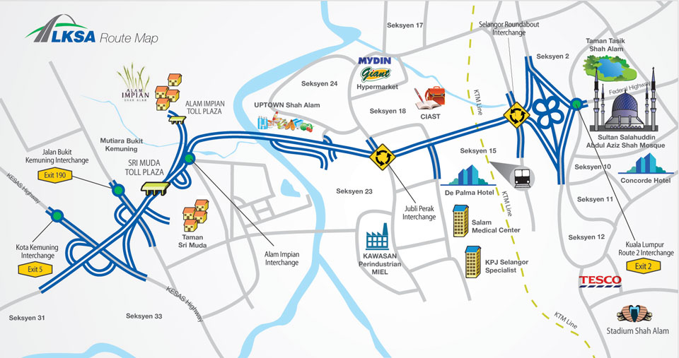 Kemuning - Shah Alam Highway (LKSA) Map