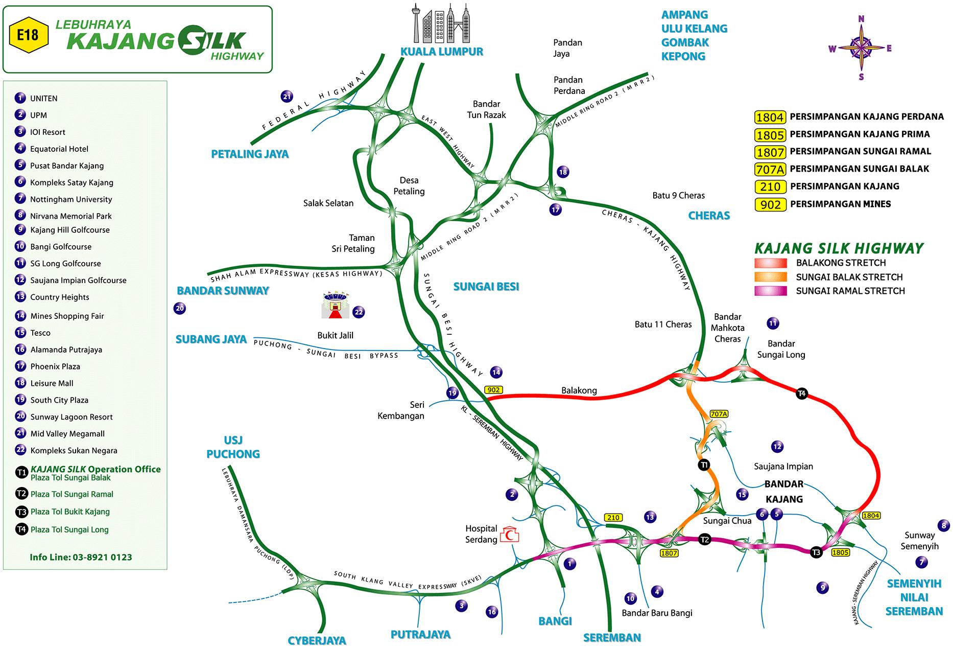 SILK Highway, Kajang Dispersal Link Expressway (E18) – klia2 ...