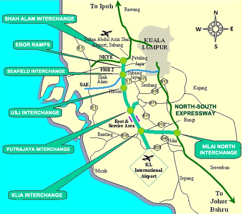 North-South Expressway Centeral Link Map
