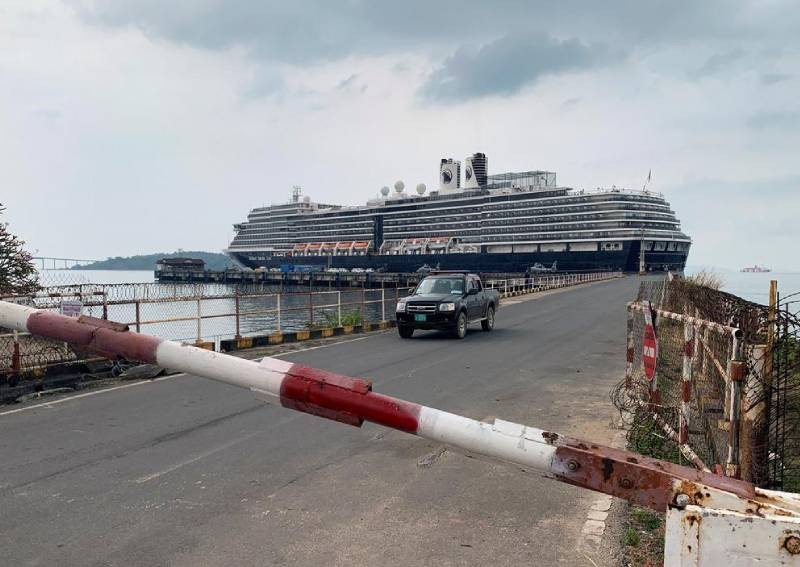 A general view of the security checkpoint in front of cruise ship MS Westerdam at dock in the Cambodian port of Sihanoukville, Cambodia Feb 17, 2020. Reuters