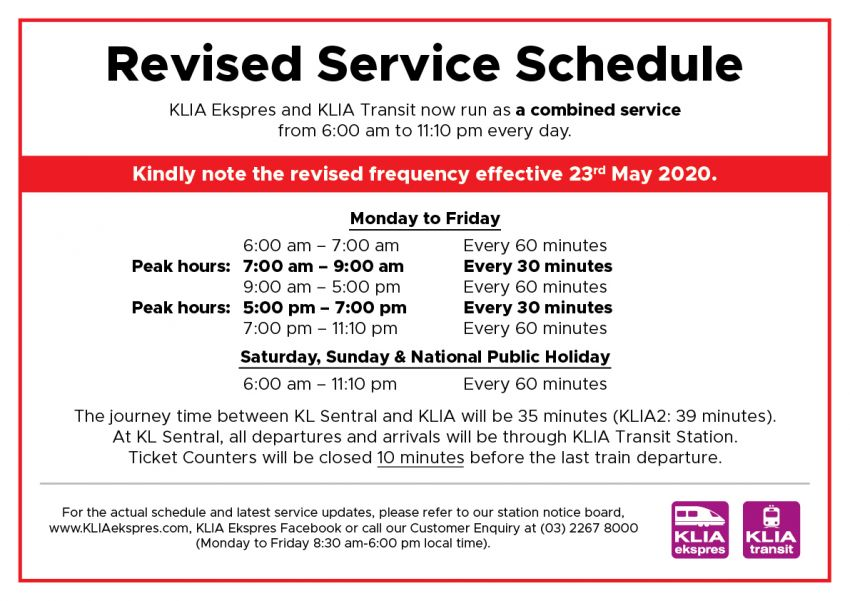 Revised service schedule