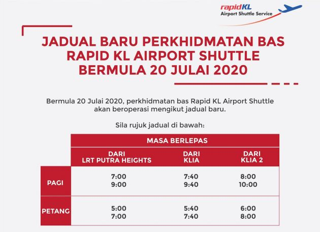 Rapid KL Airport Shuttle – new schedule from July 20