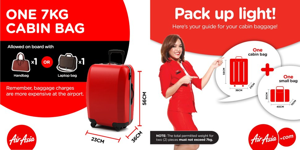 AirAsia's baggage information – cabin baggage, checked