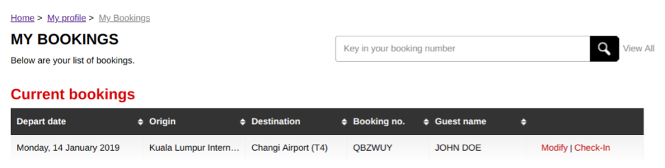 Change booking - step 1