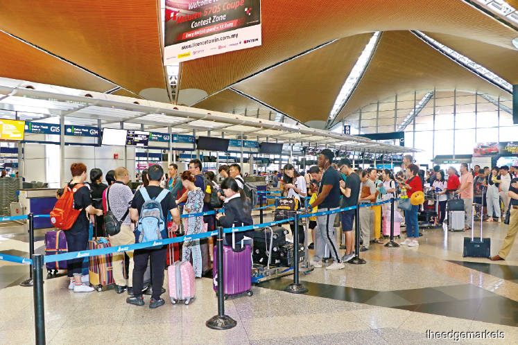 Filepic of KLIA. Passenger movements here grew 4.4% y-o-y in January 2020 to 5.31 million, from 5.09 million a year ago. (The Edge file photo)