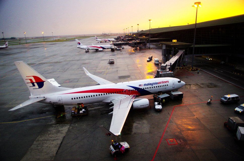 Malaysia Airlines' flights waiting at the KLIA terminal