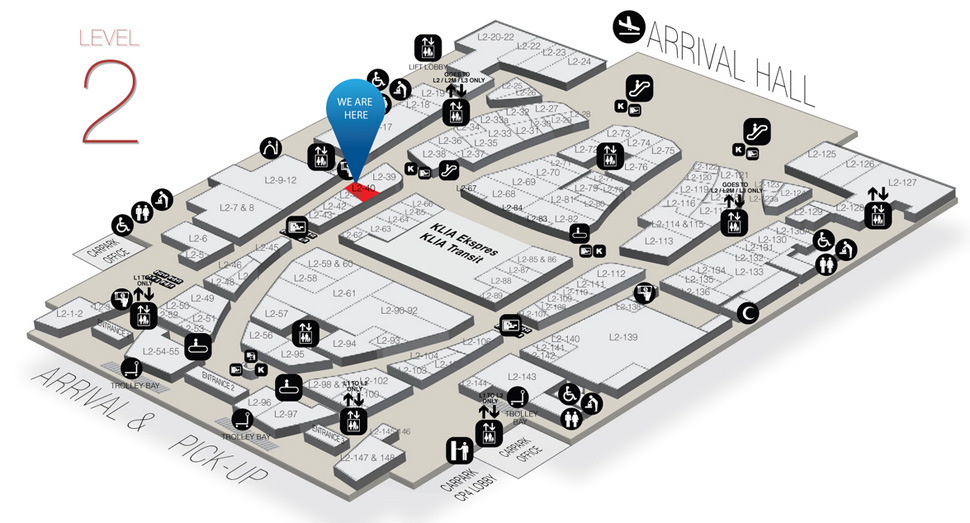 Location of Auntie Anne's at level 2 of Gateway@klia2 mall