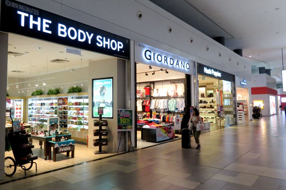The Body Shop, Giordano, and Hush Puppies