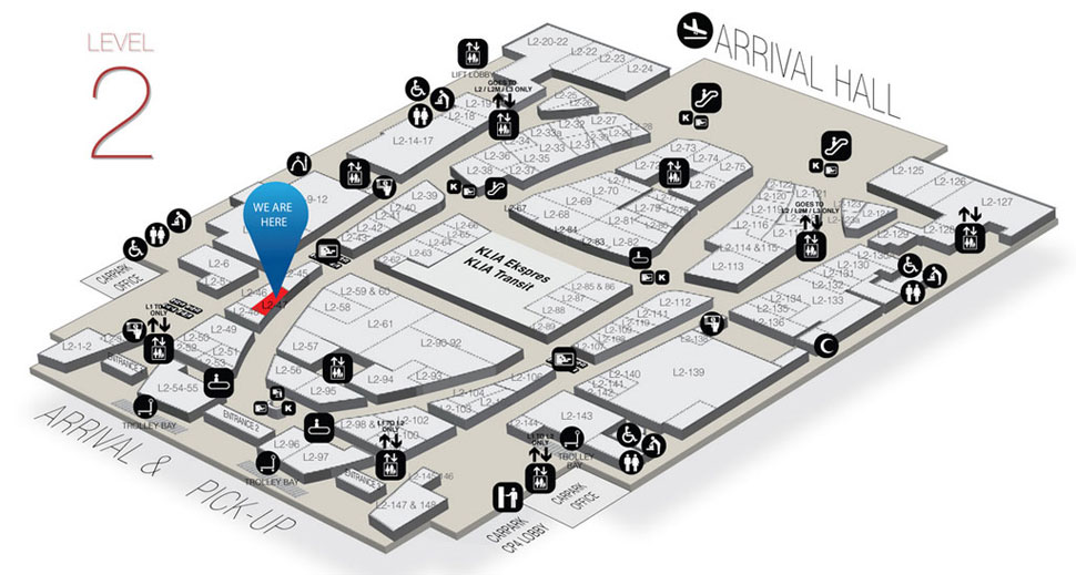 Location of Gong Cha at level 2 of Gateway@klia2 mall