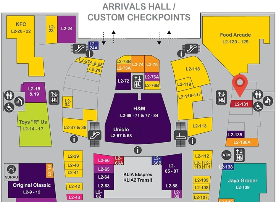 Location of iGADGET at level 2 of the Gateway@klia2 mall