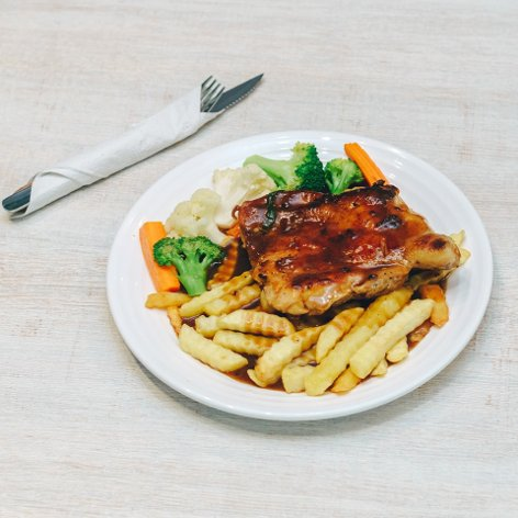 Chicken chop and fries