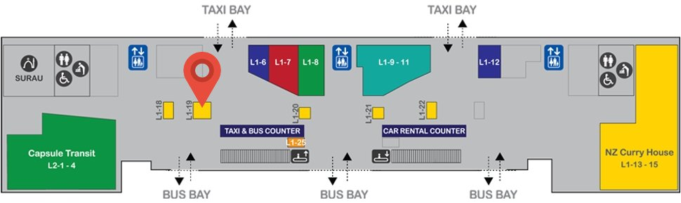 Location of Subway at level 1, Gateway@klia2 mall