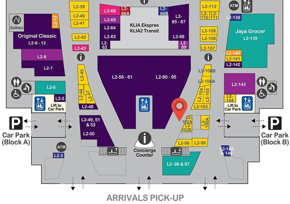 Location of Tealive at level 2 of Gateway@klia2 mall