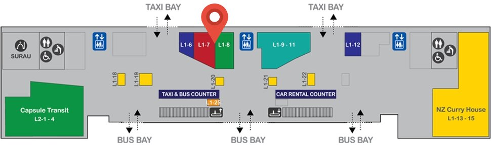 Location of Topgate Telemobile outlet at level 1 of Gateway@klia2 mall