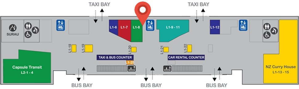 Location of Wawasan Sutera Travel & Tours at level 1 of Gateway@klia2 mall