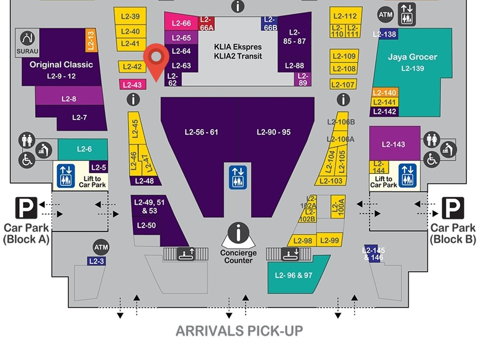 Location of Young Hearts at level 2 of Gateway@klia2 mall