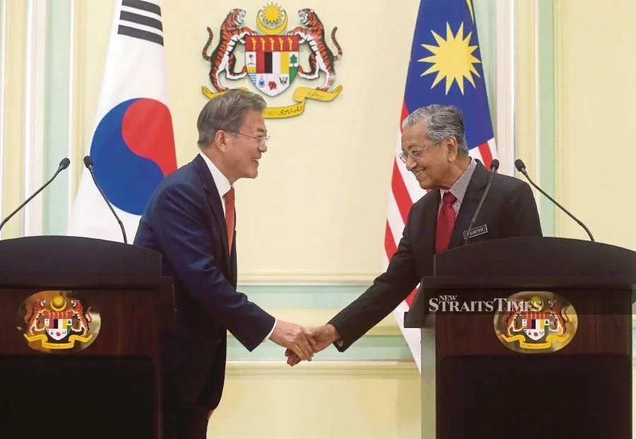South Korean President Moon Jae-in with Prime Minister Tun Dr Mahathir Mohamad in Putrajaya last month. The two leaders have focused on ways to boost ties between both nations.