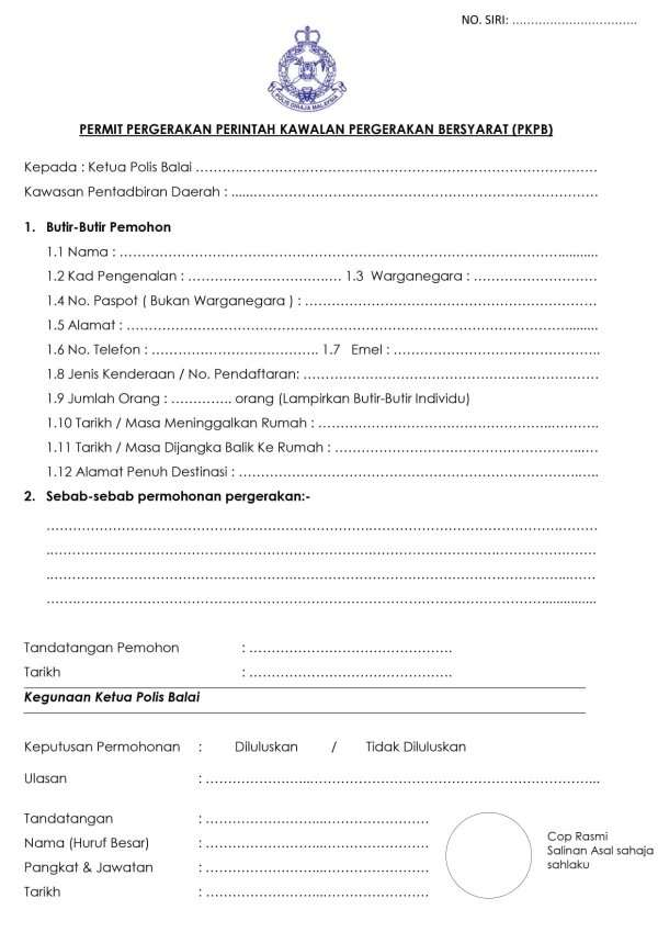 Form to be submitted to the closest police station for approval
