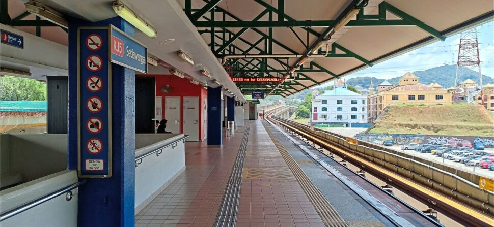 The waiting platform at LRT Setiawangsa in Kuala Lumpur was almost deserted on the first day of the movement control order.
