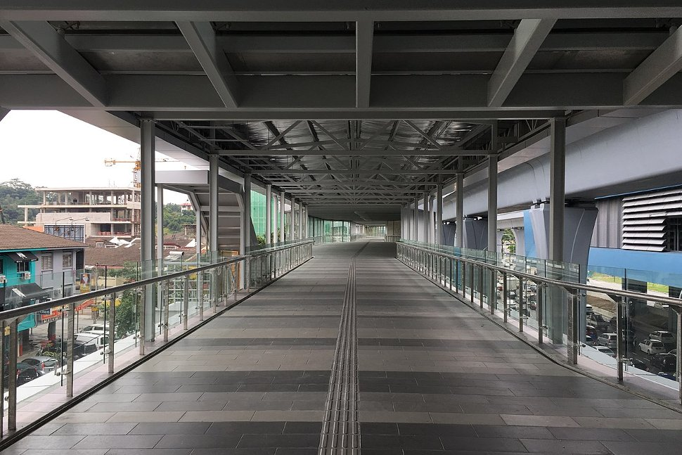 Pedestrian walkway connects the MRT station to the EkoCheras shopping mall
